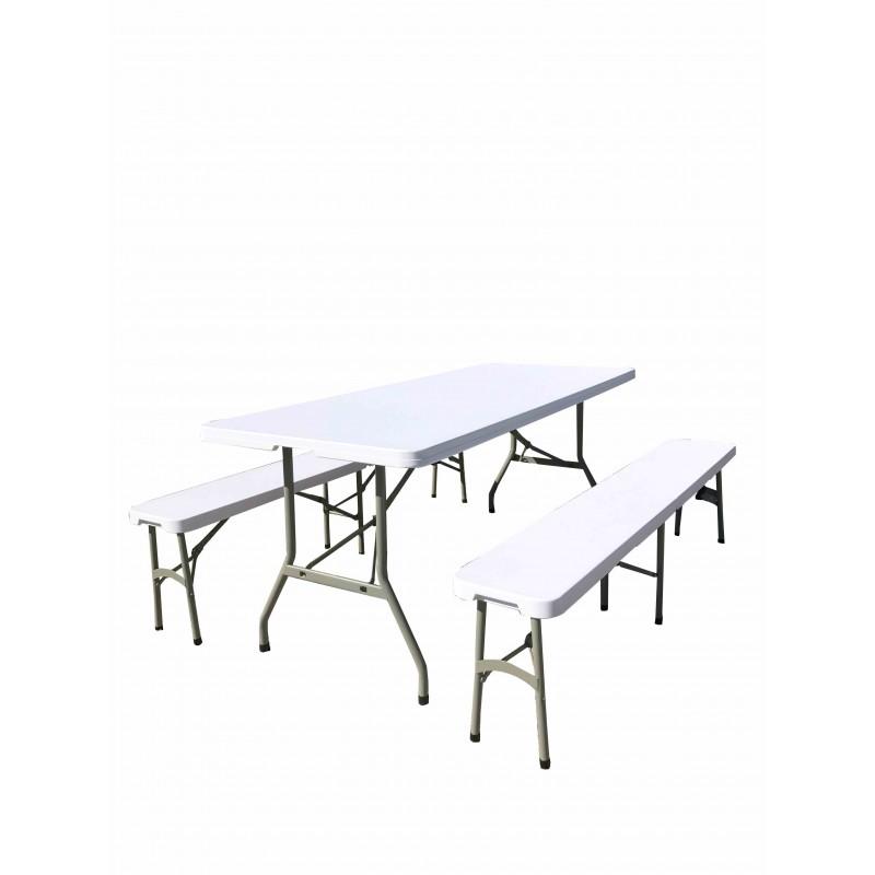 Lot De 2 Bancs Pliants 1 Table Pliante Type Valise Pvc Haute